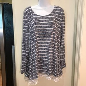 Hannah Light Striped Sweater with Cream Lace EUC